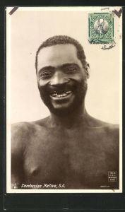 AK Zambesian Native, lachender Mann aus Sambesi
