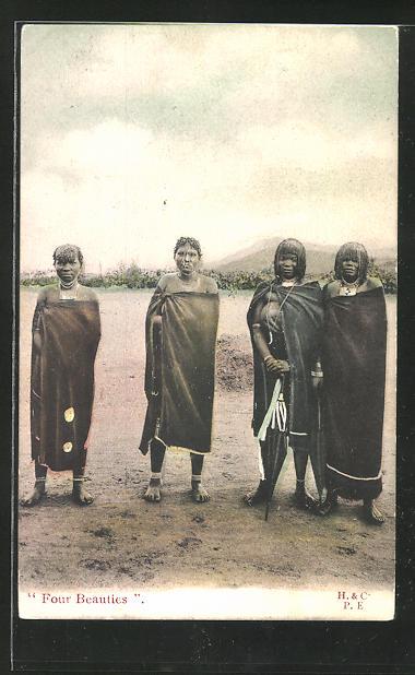 AK Four Beauties, Afrikanerinnen mit traditionellen Frisuren