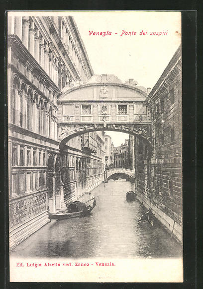 AK Venezia, Luigia Alzetta ved. Zanco, Bootsstrasse mit Brücke und Boot