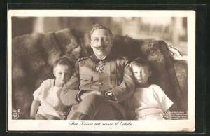 AK Kaiser Wilhelm II. mit seinen 2 Enkeln
