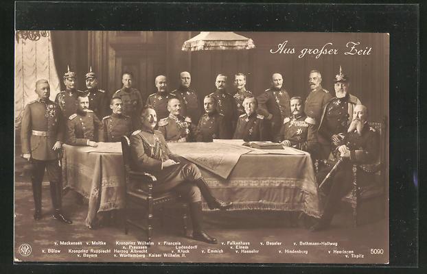 AK Aus grosser Zeit, v. Mackensen, v. Moltke, Kronprinz Wilhelm v. Preussen, v. Francois Ludendorff, Kaiser Wilhelm II.