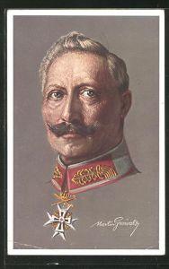 Künstler-AK Kaiser Wilhelm II. im Portrait