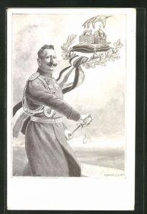 Künstler-AK Kaiser Wilhelm II. zieht sein Schwert, Krone auf einem Kissen