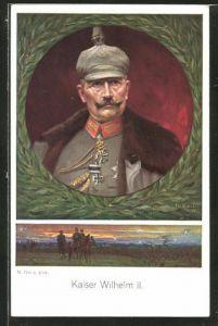 Künstler-AK Portrait von Kaiser Wilhelm II. und Ausritt im Sonnenuntergang