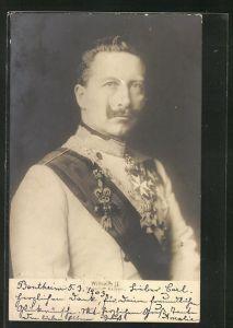 AK Kaiser Wilhelm II., Deutscher Kaiser in Uniform