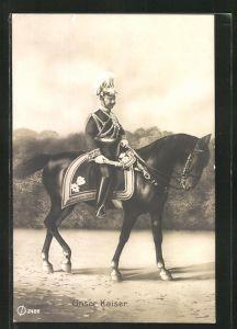 AK Unser Kaiser, Kaiser Wilhelm II. in Uniform auf einem Pferd