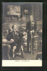 AK Kaiser Wilhelm II., sitzend in Uniform, Kaiser und Kronprinz