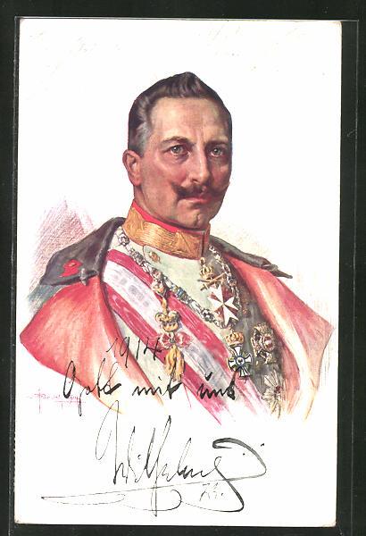 AK Kaiser Wilhelm II., Brustportrait Kaiser Wilhelm II. in Uniform mit Mantel