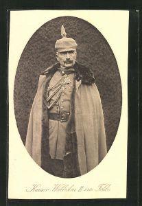 AK Kaiser Wilhelm II. in Uniform mit Pickelhaube im Felde