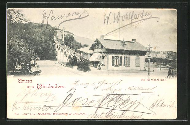 AK Wiesbaden, Talstation der Nerobergbahn