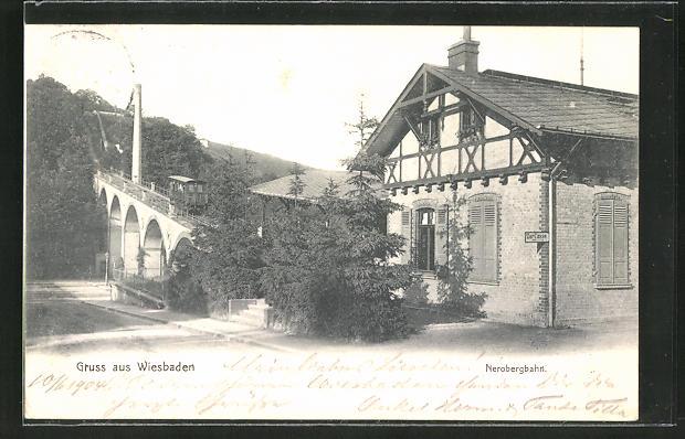 AK Wiesbaden, Blick auf die Talstation der Nerobergbahn