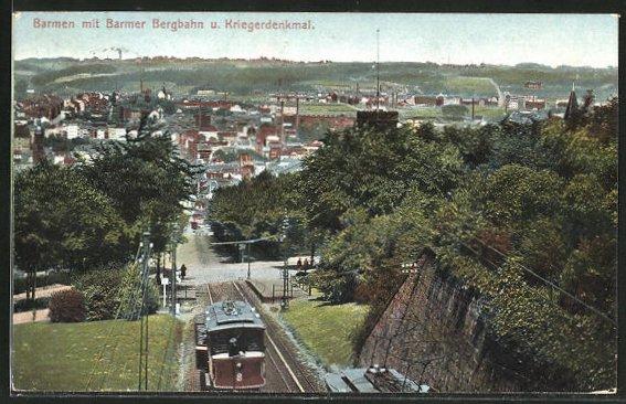 AK Barmen, Barmer Bergbahn und Kriegerdenkmal