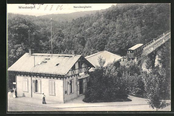 AK Wiesbaden, Nerobergbahn an der Talstation