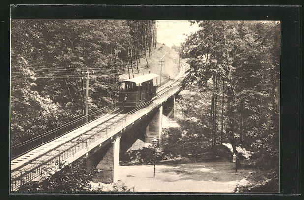 AK Heidelberg, Bergbahn zum Königstuhl, Viadukt bei der Molkenkur