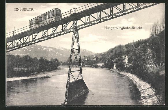 AK Innsbruck, Bergbahn auf der Hungerburgbahn-Brücke