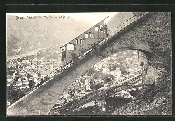 AK Bozen, Viadukt der Virglbahn mit Blick auf die Stadt