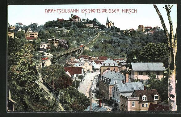 AK Dresden-Loschwitz-Weisser Hirsch, Drahtseilbahn zum Restaurant Luisenhof