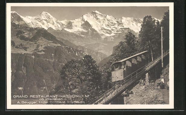 AK Interlaken, Bergbahn zum Grand Restaurant Harderkulm