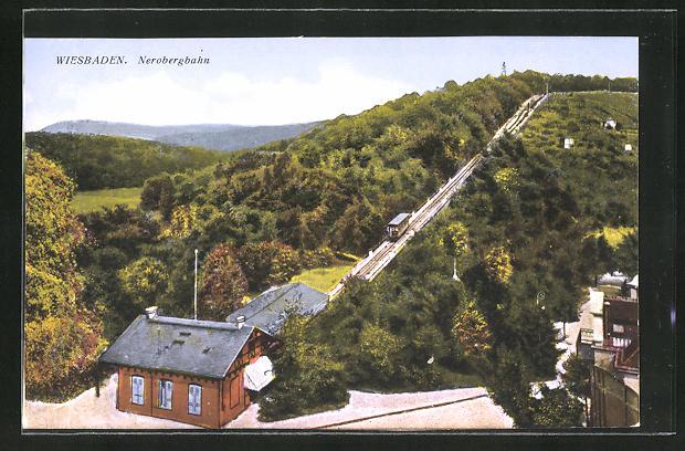 AK Wiesbaden, Talstation und Strecke der Nerobergbahn
