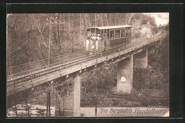 AK Heidelberg, Bergbahn auf dem Viadukt