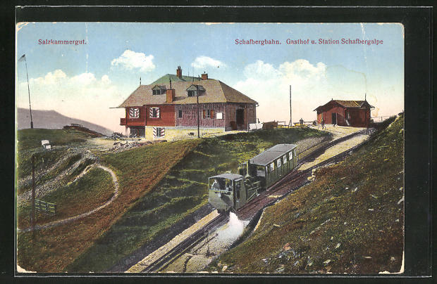 AK Schafberg, Schafbergbahn, Gasthof und Station Schafbergalpe
