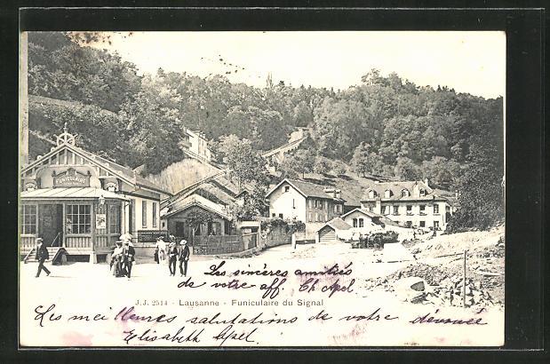 AK Lausanne, Funiculaire du Signal, Talstation der Bergbahn