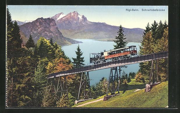 AK Rigi-Bahn auf der Schnurtobelbrücke