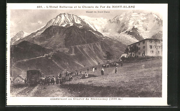AK Chemin de Fer du Mont Blanc et l'Hotel Bellevue, Bergbahn