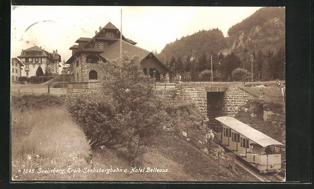 AK Seelisberg, Treib-Seelisbergbahn und Hotel Bellevue