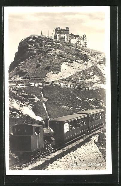 AK Rigi-Kulm, Bergbahn und Hotel auf dem Gipfel