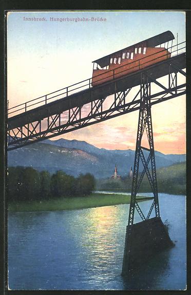 AK Innsbruck, Blick auf die Hungerburgbahn-Brücke
