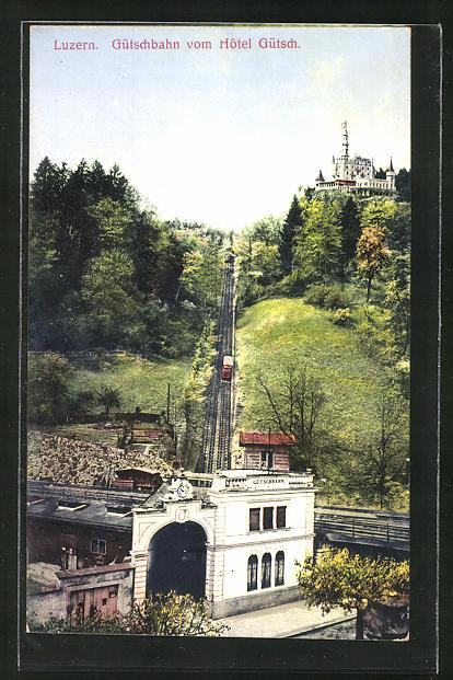 AK Luzern, Gütschbahn vom Hotel Gütsch