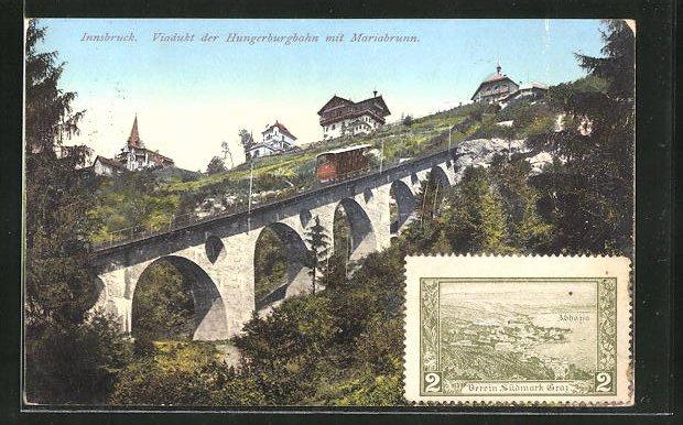 AK Innsbruck, Viadukt der Hungerburgbahn mit Mariabrunn