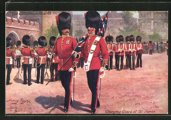 Künstler-AK Harry Payne: The Coldstream Guards, Changing Guard at St. James