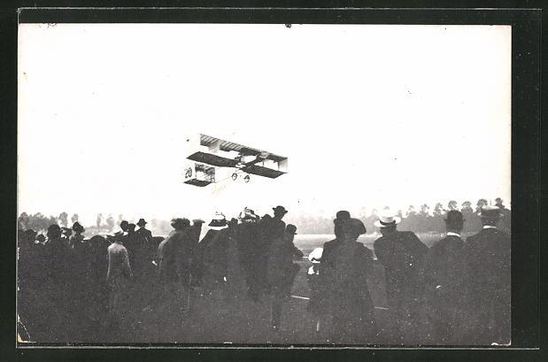 AK Tournai, Semaine d'Aviation 1909, Paulhan im Doppeldecker-Flugzeug