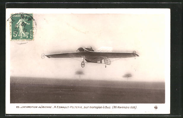 AK Flugpionier R. Esnault-Pelterie im Monoplan-Flugzeug