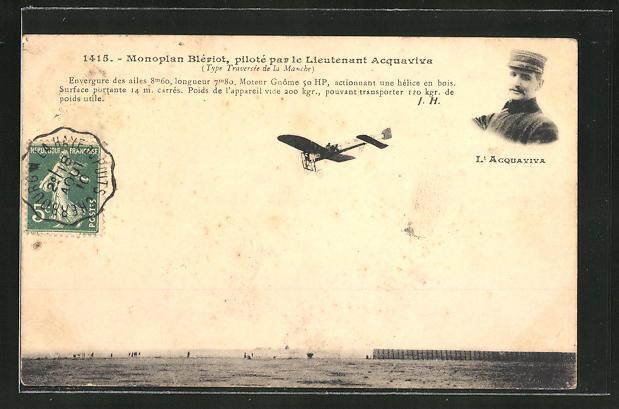 AK Flugzeug-Pioniere, Monoplan Blériot, piloté par le Lieutenant Acquaviva