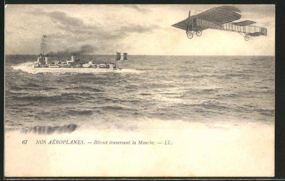 AK Flugzeug-Pionier Blériot über dem Meer