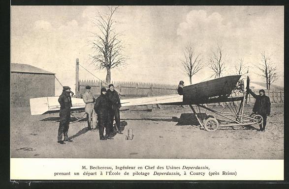 AK Courcy, M. Bechereau vor dem Start mit seinem Deperdussin-Flugzeug