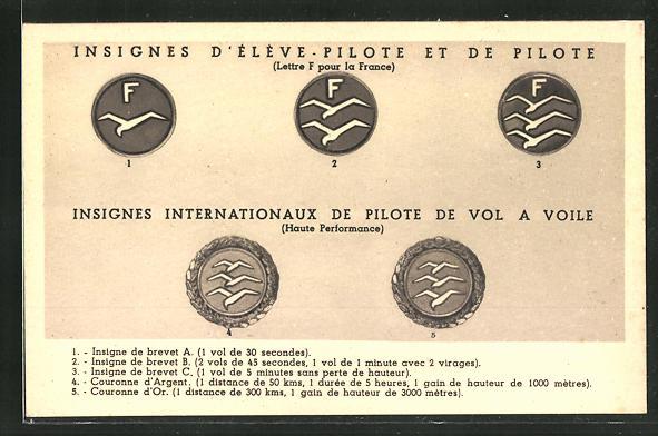 AK Französische Segelflug-Abzeichen