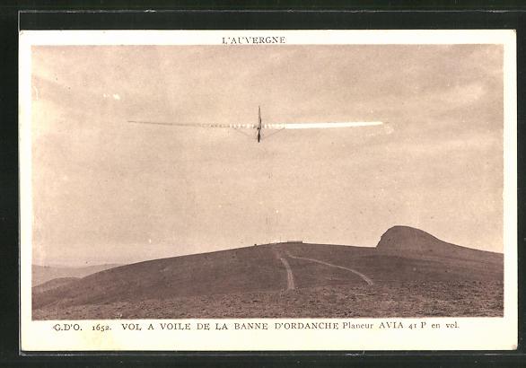 AK Vol a Voile de la Banne d'Ordanche, Segelflugzeug über der Auvergne
