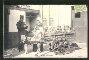 AK Laitière flamande, Milchkarren mit Hundegespann und ein Polizist