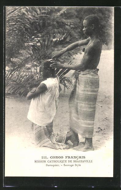 AK Conco Francais, 2 afrikanische Männer beim Haare schneiden