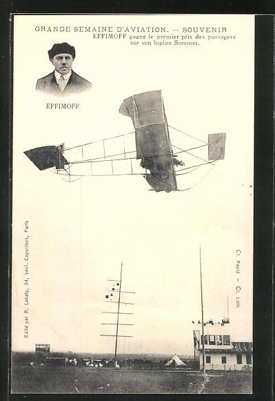 AK Grande Semaine d'Aviation, Souvenir, Effimoff gagne le premier prix des passagers sur son biplan Sommer, Flugzeug