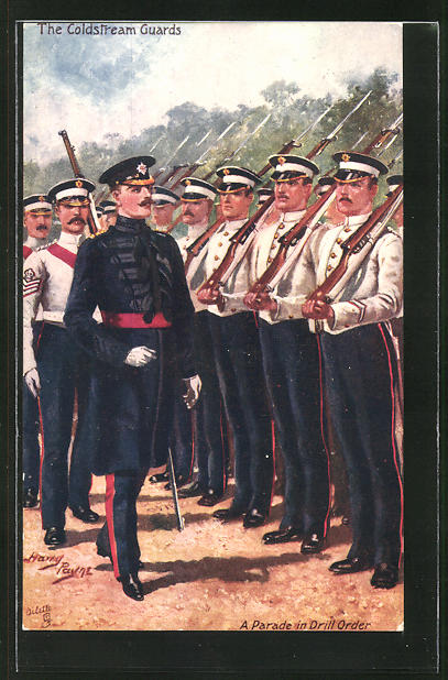 Künstler-AK Harry Payne: The Coldstream Guards, A Parade in Drill Order