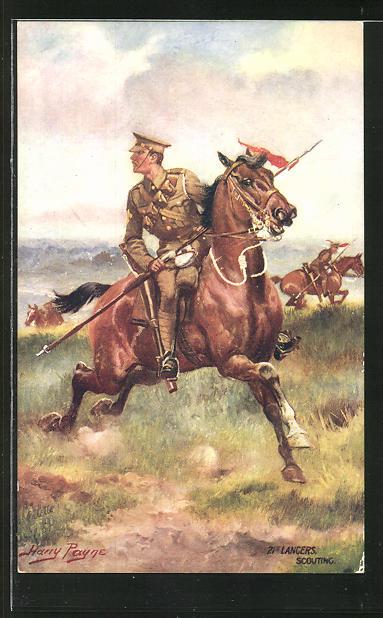 Künstler-AK Harry Payne: Lancers Scouting, Kavallerist im Galopp