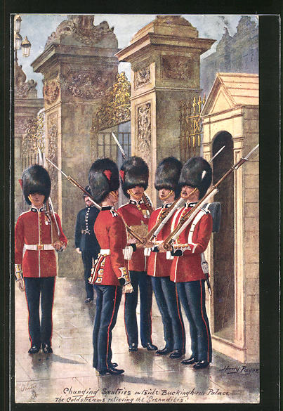 Künstler-AK Harry Payne: Changing Sentries outside Buckingham Palace. The Coldstreams relieving the Grenadiers
