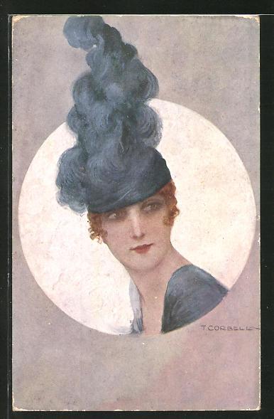 Künstler-AK Tito Corbella: Brustportrait Frau mit Hut