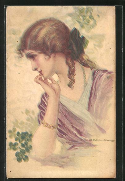Künstler-AK Tito Corbella: Brustportrait Frau mit Schleife