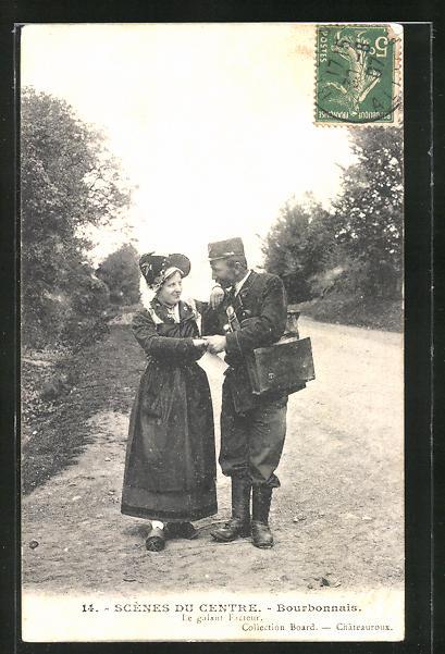 AK Scenes du Centre, Bourbonnais, Le galant Facteur, Briefträger küsst die Hand einer Dame